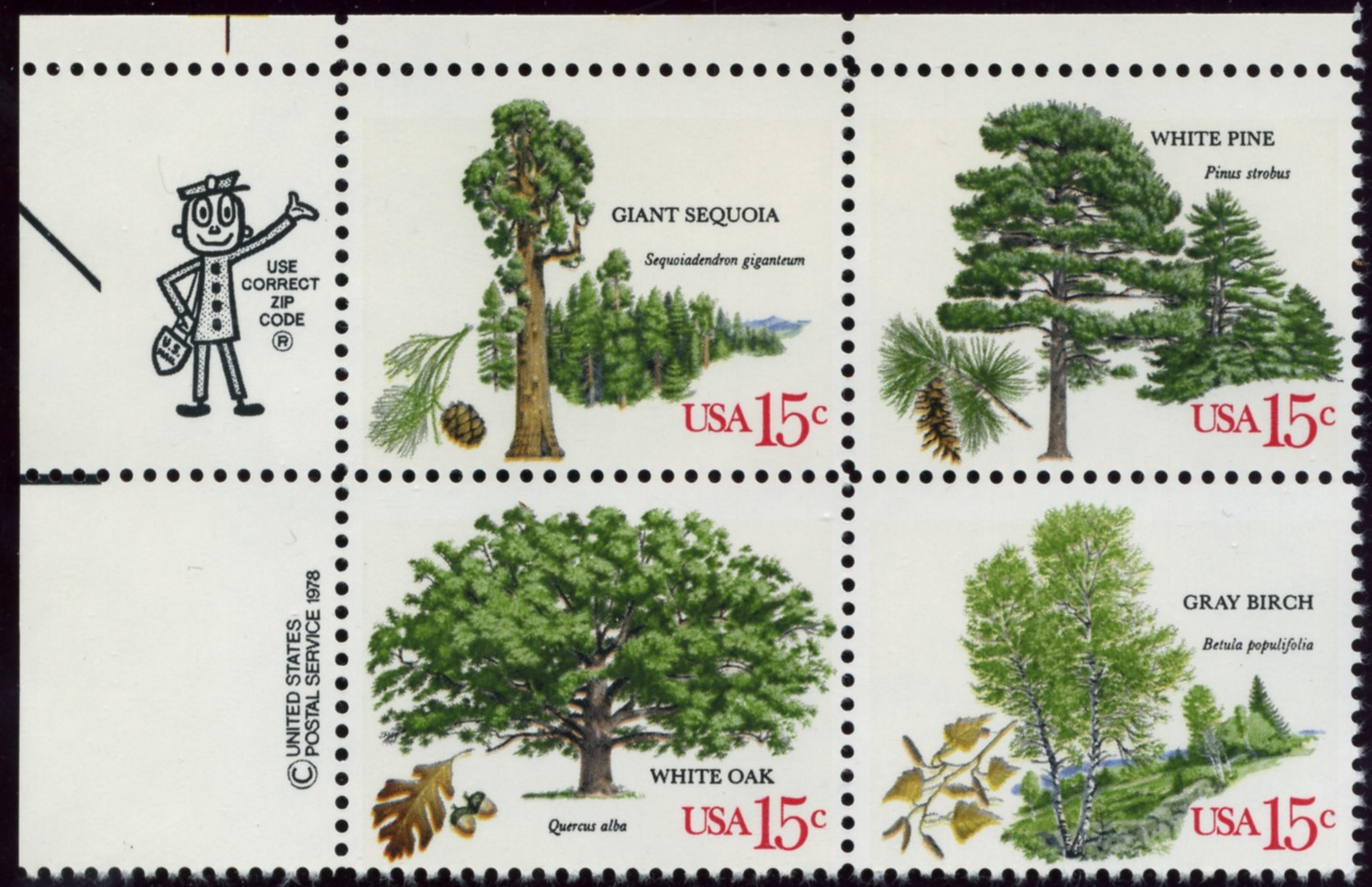 Scott 1764 to 1767 15 Cent Stamps American Trees