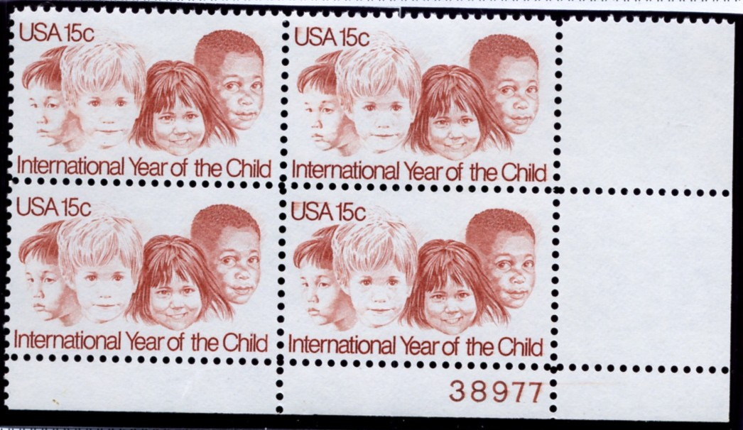 Scott 1772 15 Cent Stamp International Year of the Child Plate Block