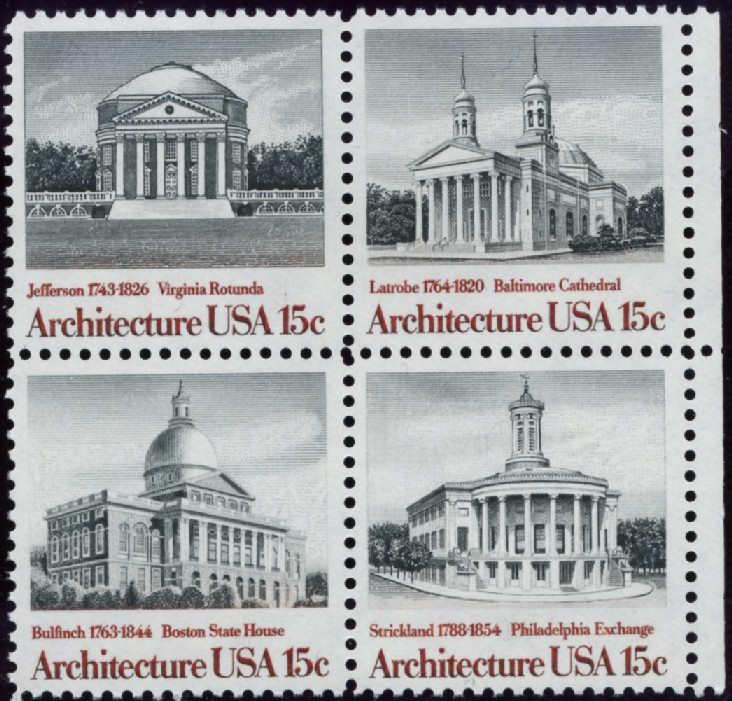 Scott 1779 to 1782 15 Cent Stamps Classic American Architecture