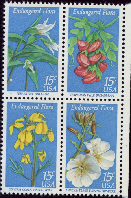 Scott 1783 to 1786 15 Cent Stamps Endangered Flora