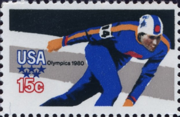 Scott 1795 15 Cent Stamp 1980 Winter Olympics Skater