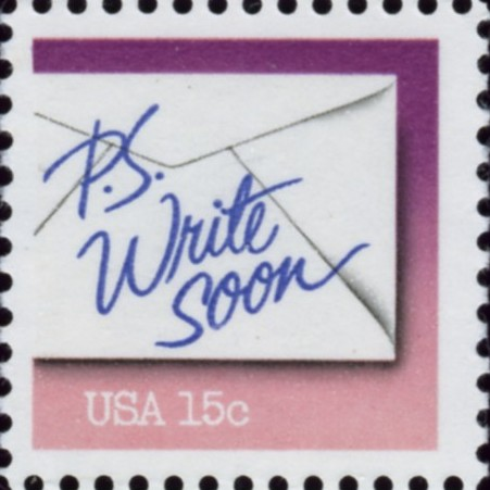 Scott 1806 15 Cent Stamp PS Write Soon Violet and Pink