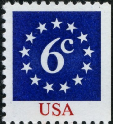 Scott 1892 6 Cent Definitive Stamp Numeral in Circle of Stars