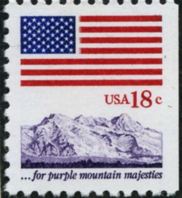 Scott 1893 18 Cent Definitive Stamp Flag Purple Mountain Majesties