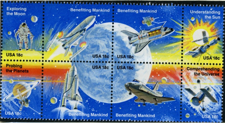 Scott 1912 to 1919 18 Cent Stamps Space Exploration