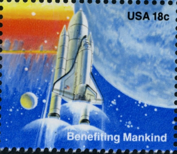 Scott 1917 18 Cent Stamp Space Exploration Shuttle Vertical Ascent