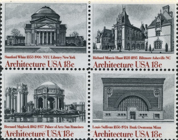 Scott 1928 to 1931 18 Cent Stamps American Architecture