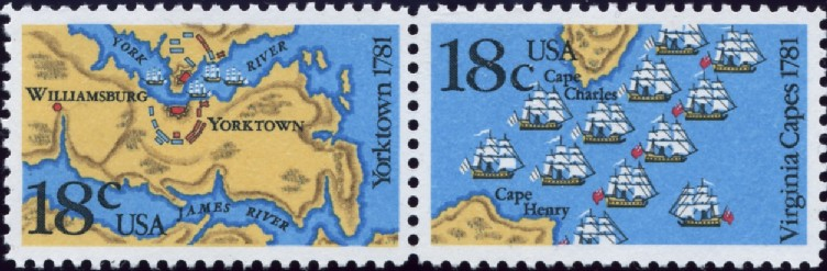 Scott 1937 and 1938 18 Cent Stamps Yorktown and Virginia Capes
