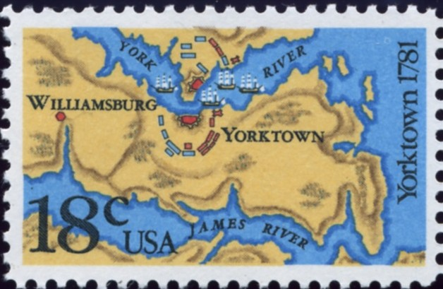Scott 1937 18 Cent Stamp Yorktown Map