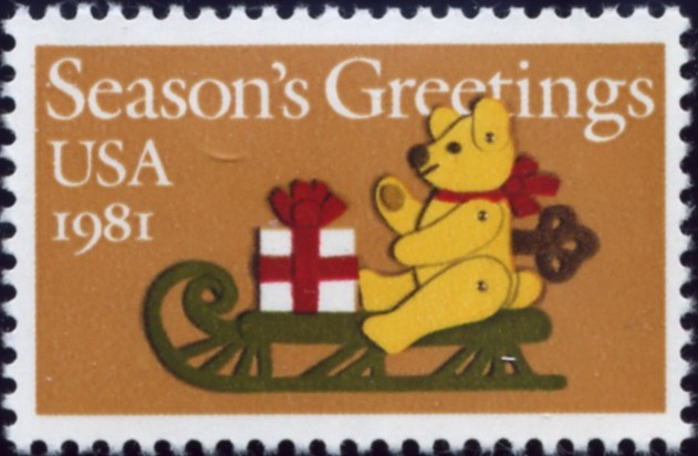 Scott 1940 20 Cent Christmas Stamp Teddy Bear On Sleigh