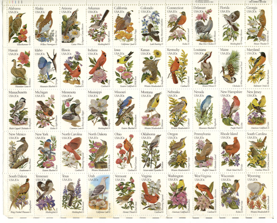 Scott 1953 through 2002 State Birds and Flowers 20 Cents Stamps Full Sheet