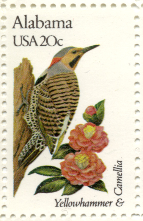 Scott 1953 20 Cent Stamp State Birds and Flowers Alabama Yellowhammer and Carnellia