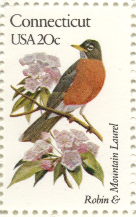 Scott 1959 20 Cent Stamp State Birds and Flowers Connecticut Robin and Mountain Laurel