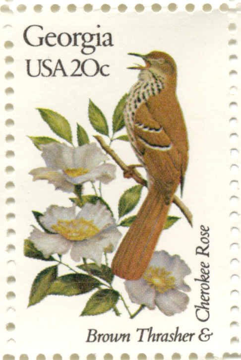 Scott 1962 20 Cent Stamp State Birds and Flowers Georgia Brown Thrasher and Cherokee Rose