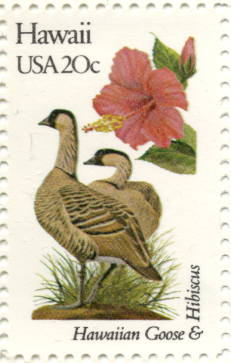 Scott 1963 20 Cent Stamp State Birds and Flowers Hawaii Hawaiian Goose and Hibiscus