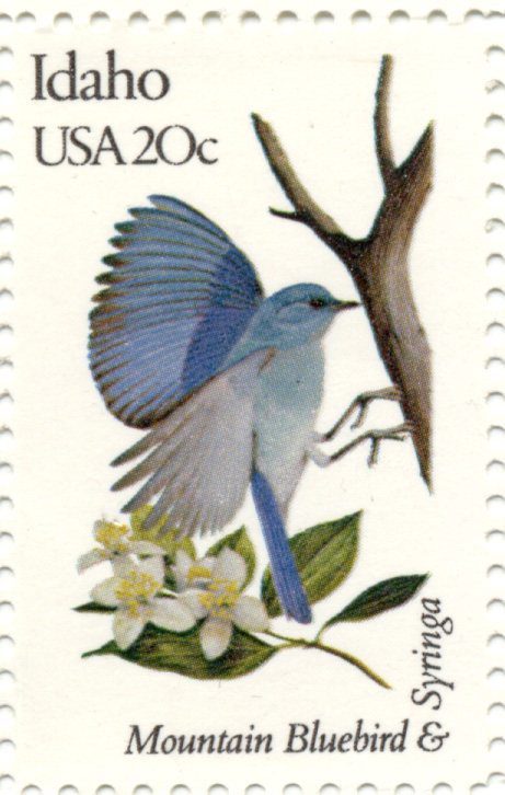 Scott 1964 20 Cent Stamp State Birds and Flowers Idaho Mountain Bluebird and Syringa
