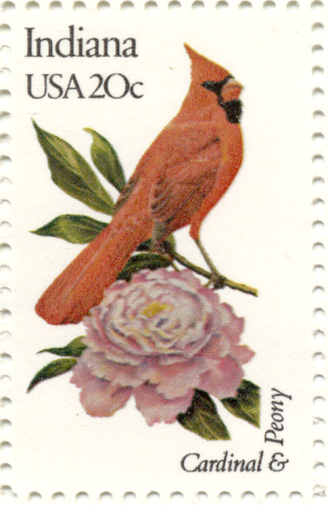 Scott 1966 20 Cent Stamp State Birds and Flowers Indiana Cardinal and Peony