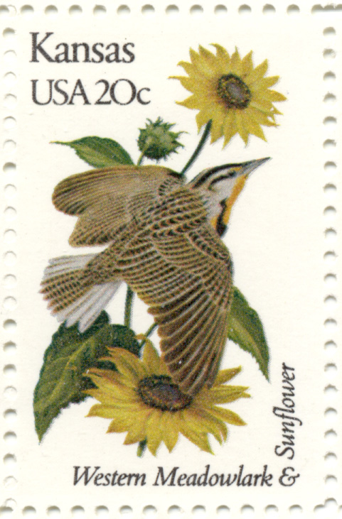 Scott 1968 20 Cent Stamp State Birds and Flowers Kansas Western Meadowlark and Sunflower