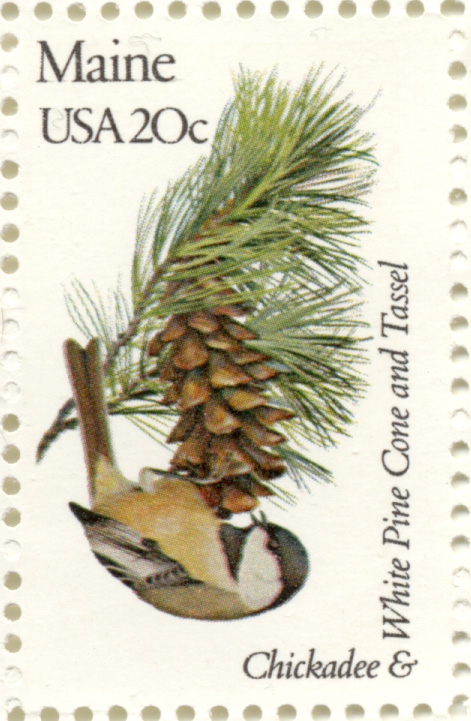 Scott 1971 20 Cent Stamp State Birds and Flowers Maine Chickadee and White Pine Cone and Tassel
