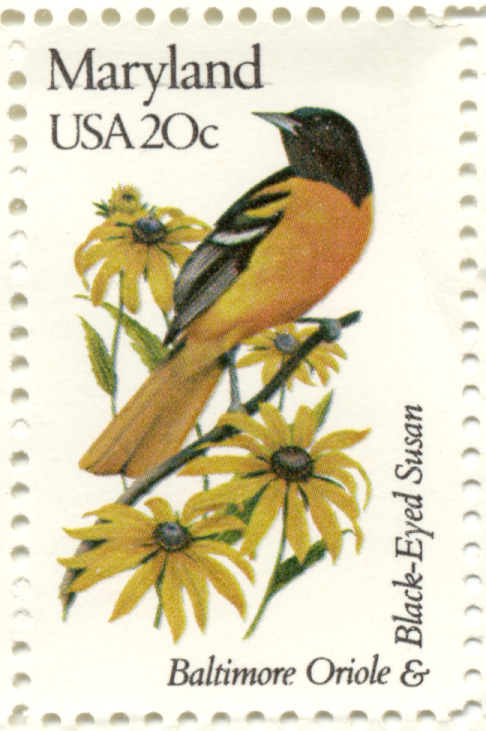 Scott 1972 20 Cent Stamp State Birds and Flowers Maryland Baltimore Oriole and Black Eyed Susan