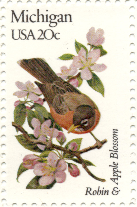 Scott 1974 20 Cent Stamp State Birds and Flowers Michigan Robin and Apple Blossom