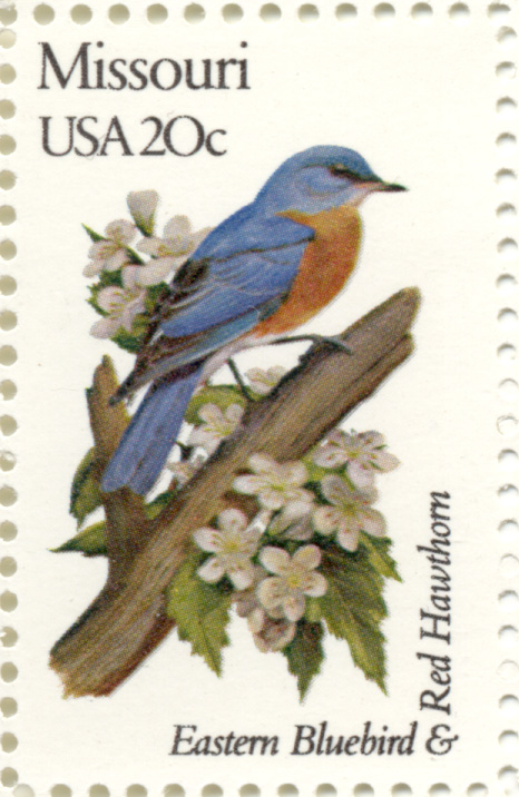 Scott 1977 20 Cent Stamp State Birds and Flowers Missouri Eastern Bluebird and Red Hawthorn