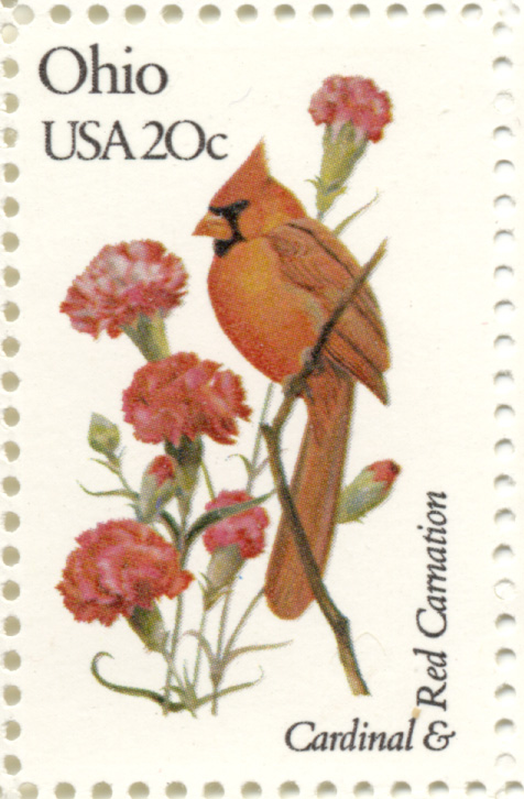 Scott 1987 20 Cent Stamp State Birds and Flowers Ohio Cardinal and Red Carnation
