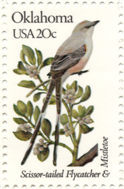 Scott 1988 20 Cent Stamp State Birds and Flowers Oklahoma Scissor-Tailed Flycatcher and Mistletoe