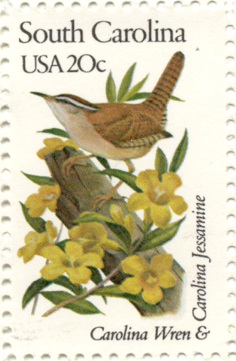 Scott 1992 State Birds and Flowers South Carolina 20 Cent Stamp