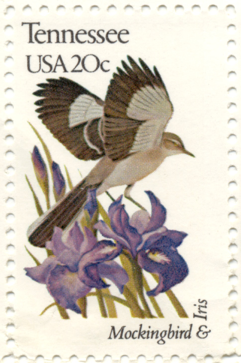 Scott 1994 20 Cent Stamp State Birds and Flowers Tennessee Mockingbird and Iris