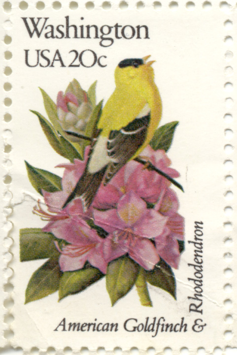 Scott 1999 20 Cent Stamp State Birds and Flowers Washington American Goldfinch and Rhododendron
