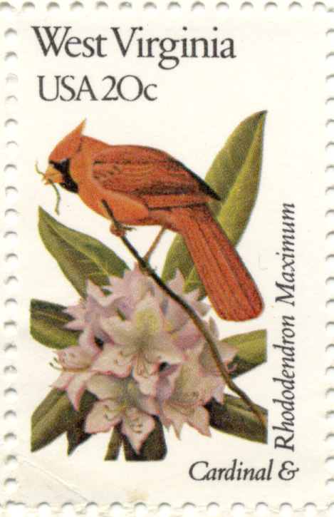 Scott 2000 20 Cent Stamp State Birds and Flowers West Virginia Cardinal and Rhododendron Maximum