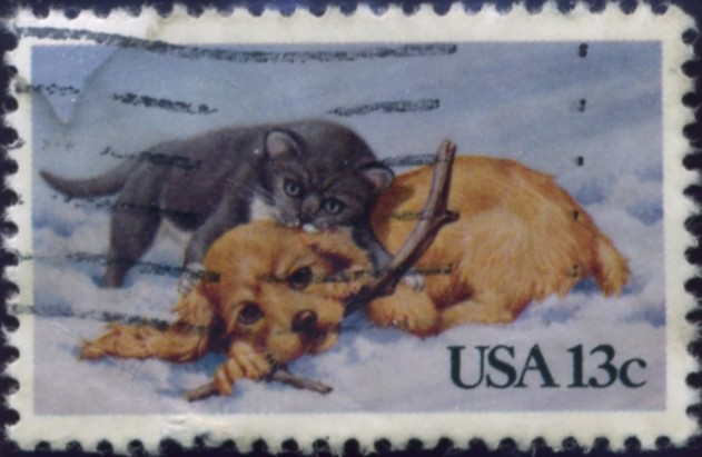 Scott 2025 13 Cent Christmas Stamp Kitten and Puppy