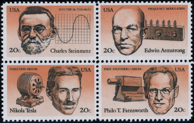 Scott 2055 to 2058 20 Cent Stamps Electromagnetism Scientists