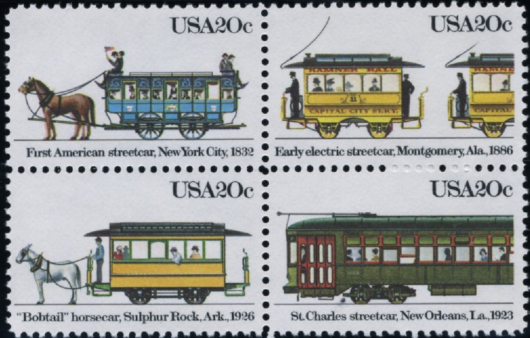 Scott 2059 to 2062 20 Cent Stamps Early Streetcars