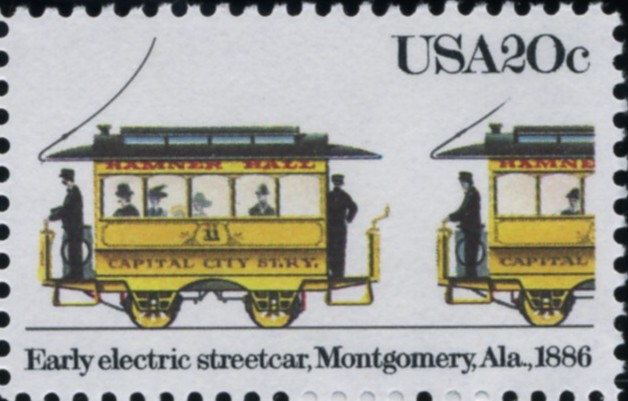 Scott 2060 20 Cent Stamp Early Electric Streetcar Montgomery Alabama