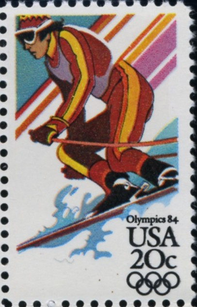 Scott 2068 20 Cent Stamps 1984 Winter Olympics Downhill Skiing