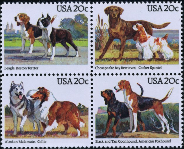 Scott 2098 to 2101 20 Cent Stamps Dog Breeds