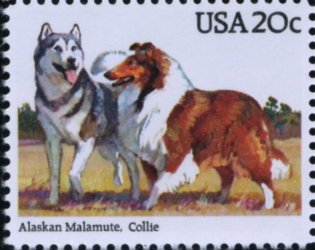 Scott 2100 20 Cent Stamp Alaskan Malamute and Collie
