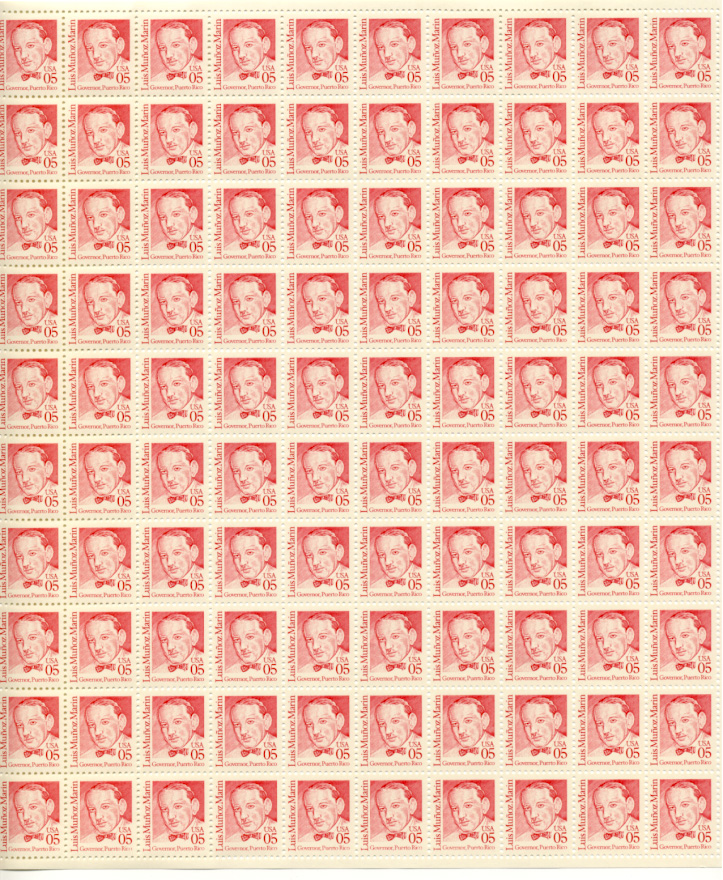 Scott 2173 Luis Munoz Marin 5 Cent Stamps Full Sheet