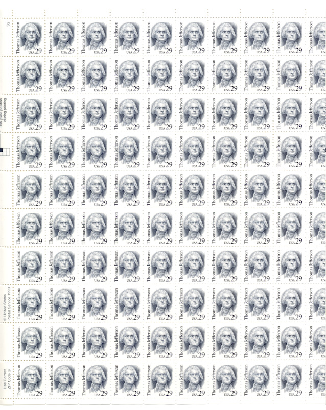 Scott 2185 29 Cents Thomas Jefferson Stamps Full Sheet
