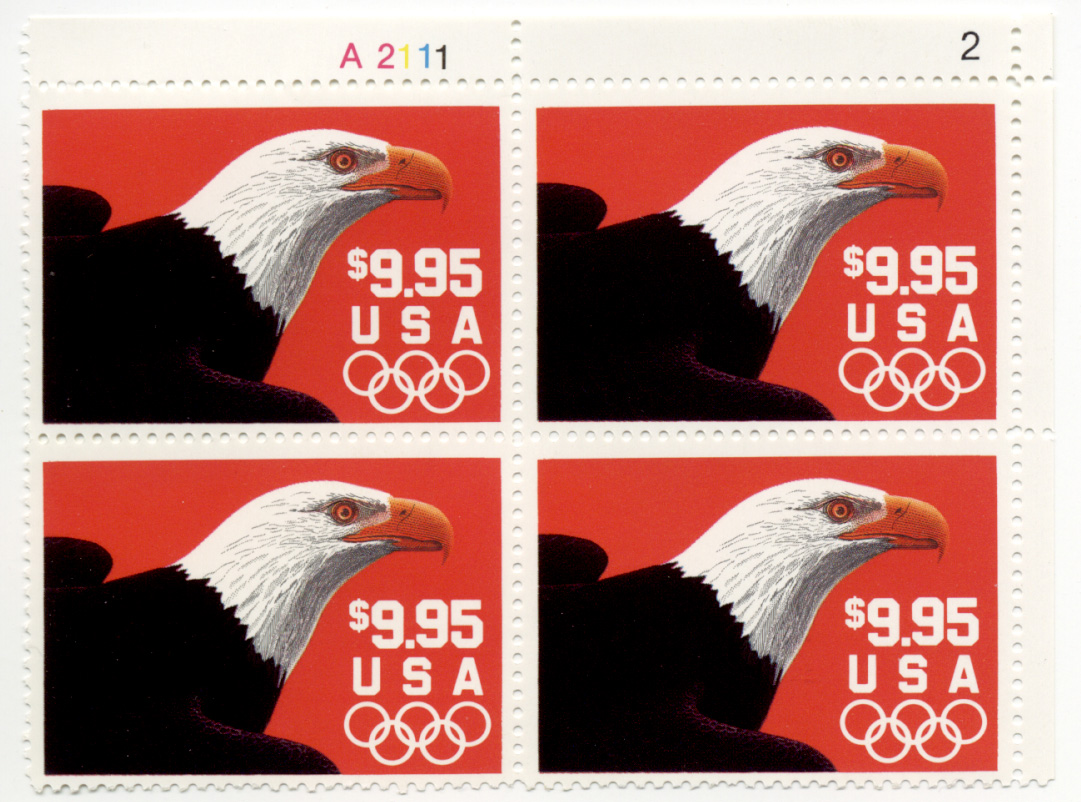 Eagle and Olympic Rings 9.95 Dollar Express Mail Stamp Plate Block Scott 2541