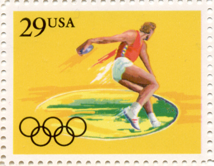 1991 Summer Olympics Discus 29 Cent Stamp Scott 2554