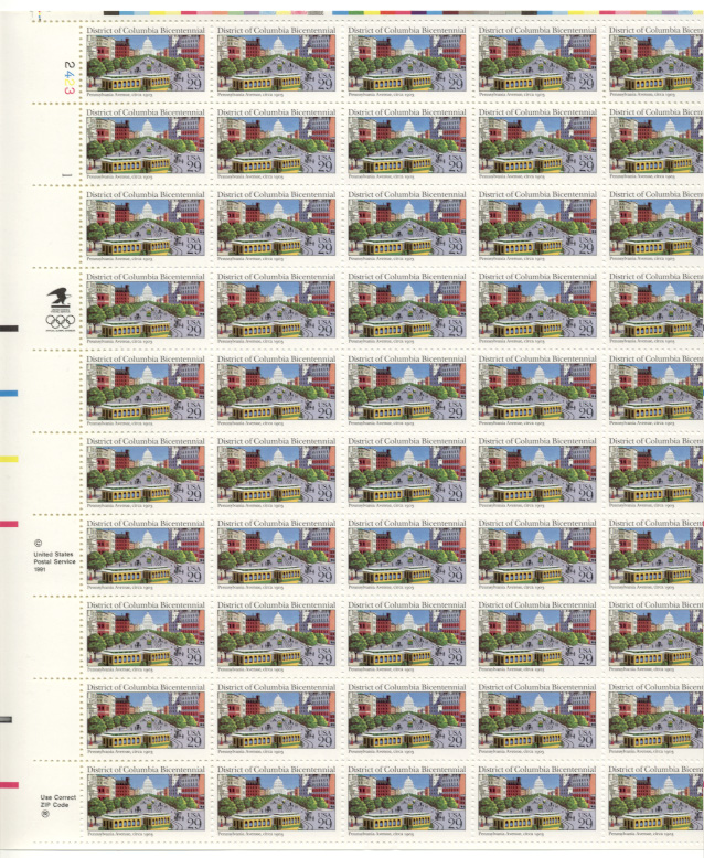 District of Columbia Bicentennial 29 Cents Stamps Full Sheet Scott 2561