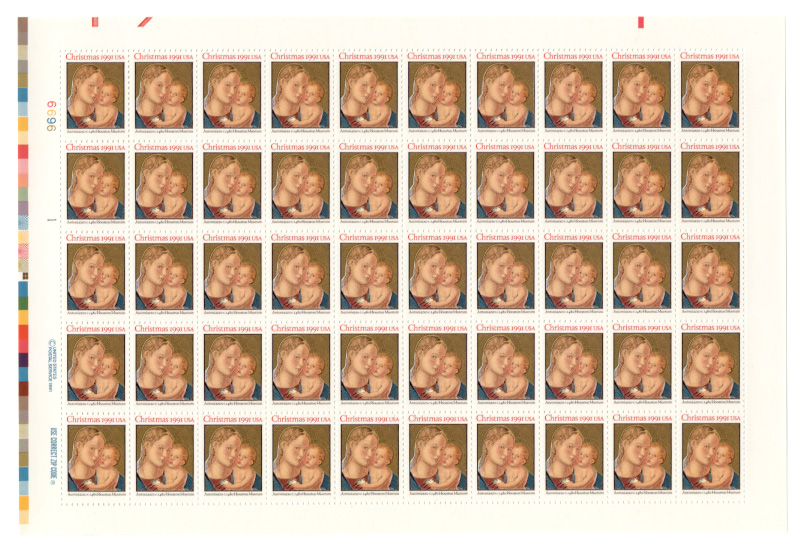 Madonna and Child Antoniazzo 29 Cents Christmas Stamps Full Sheet Scott 2578
