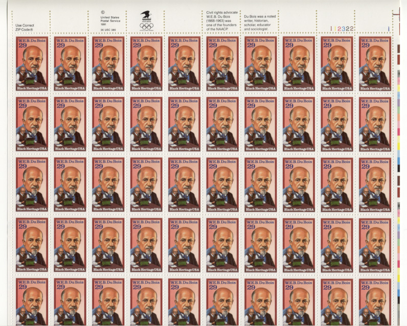 Scott 2617 W. E. B. DuBois 29 Cents Stamps Full Sheet
