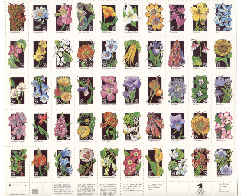 Scott 2647 through 2696 Wildflowers 29 Cents Stamps Full Sheet