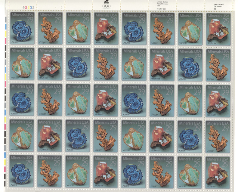 Scott 2700 through 2703 Minerals 29 Cents Stamps Full Sheet