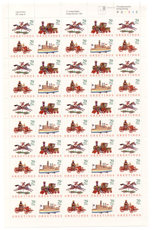 Scott 2711 through 2714 Christmas Greetings Toys 29 Cents Christmas Stamps Full Sheet