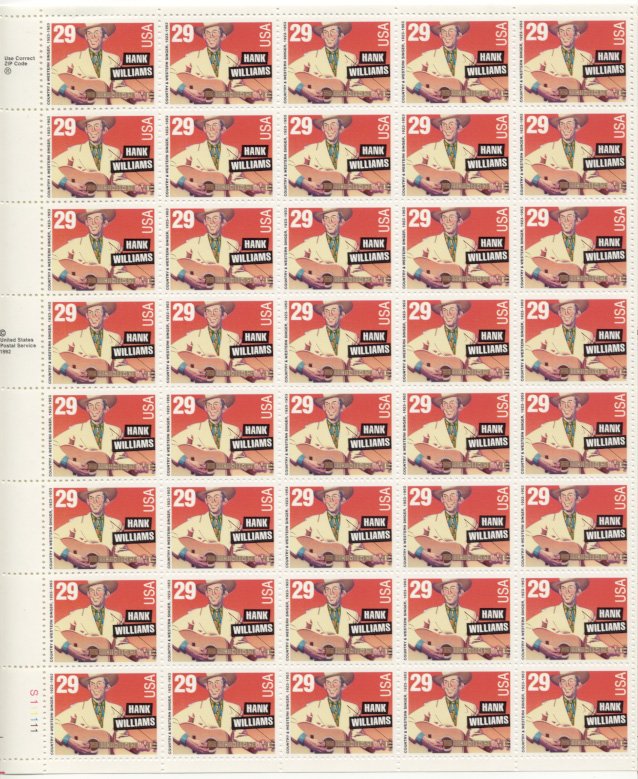 Scott 2723 Hank Williams 29 Cents Stamps Full Sheet